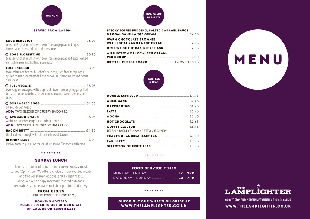 The Lamplighter Freehouse Menu