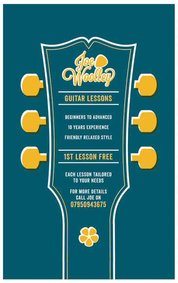 Joe Woolley Guitar Tutor Poster Designed By Paul Hillery