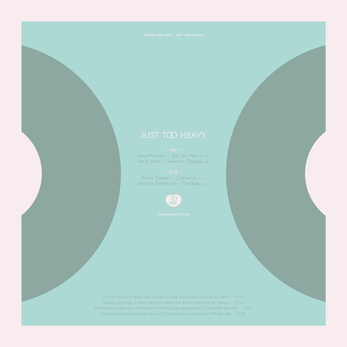 Just Too Heavy vinyl sleeve design by Paul Hillery